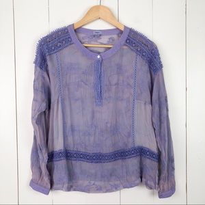 TINY | Anthropologie Silk Purple Embroidered Top S